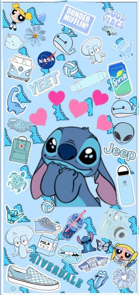 IPhone Blue Stitch Aesthetic Wallpaper   Wallpaper Iphone