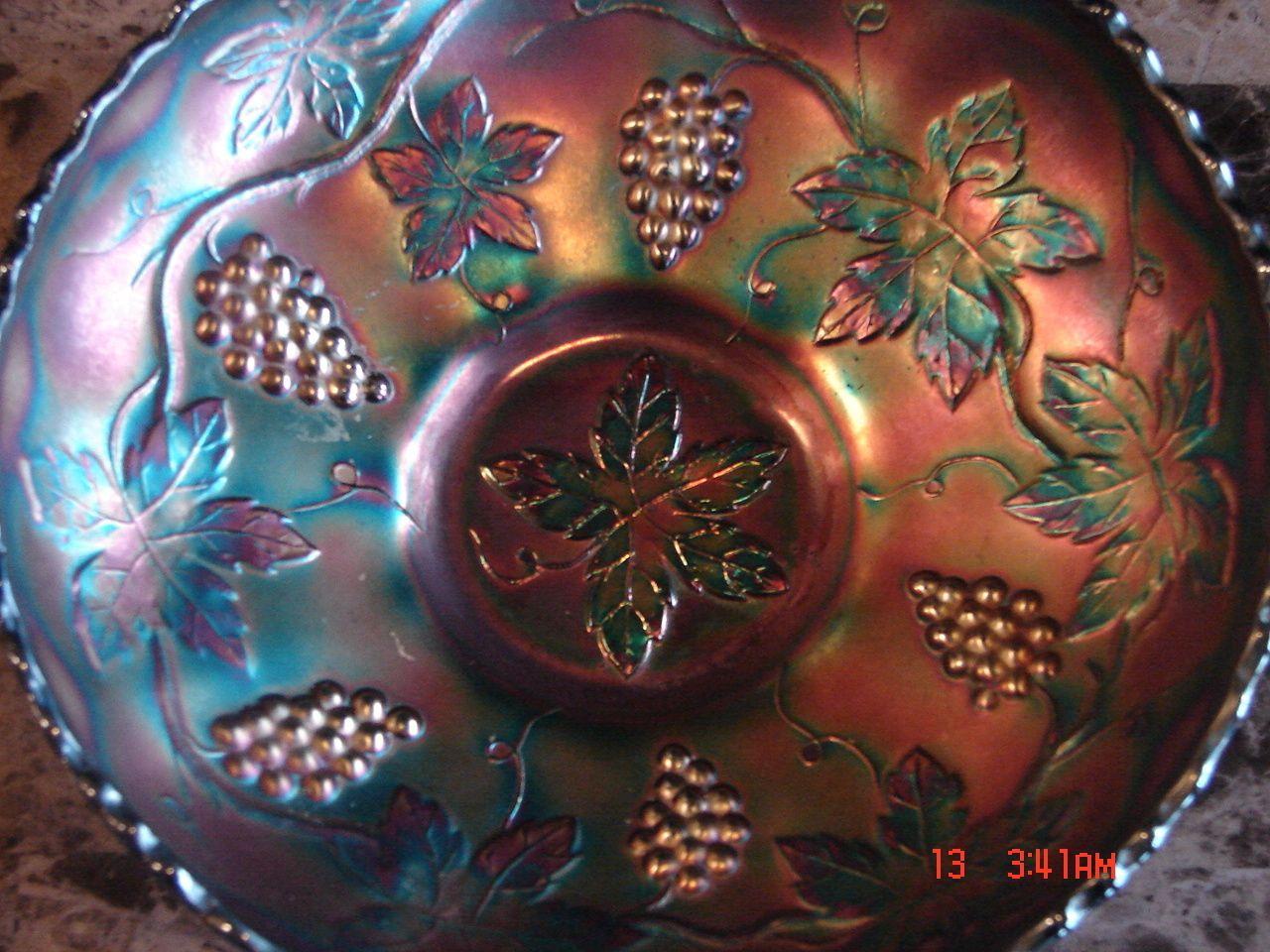 VINTAGE---FENTON CARNIVAL GLASS-----GRAPE LEAF DISH BOWL ...