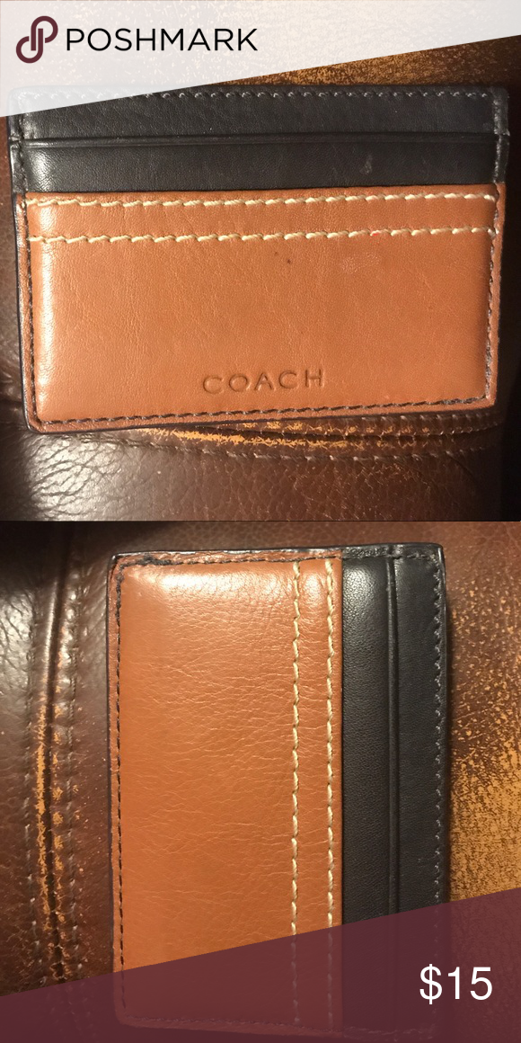 Coach card holder. Black and brown | Key card holder, Key and Brown