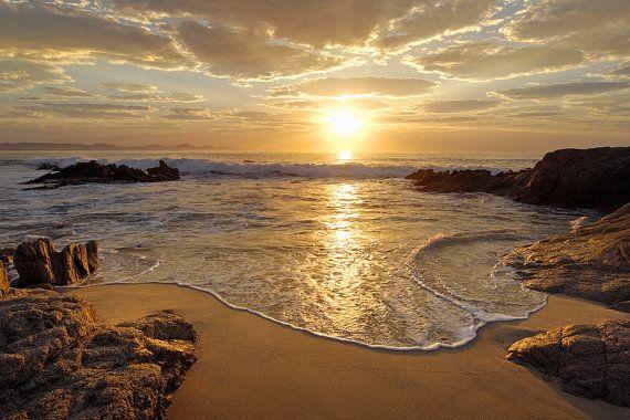 Sunrise Mar océano onda Sunset Beach gran por GlowingWallDecor