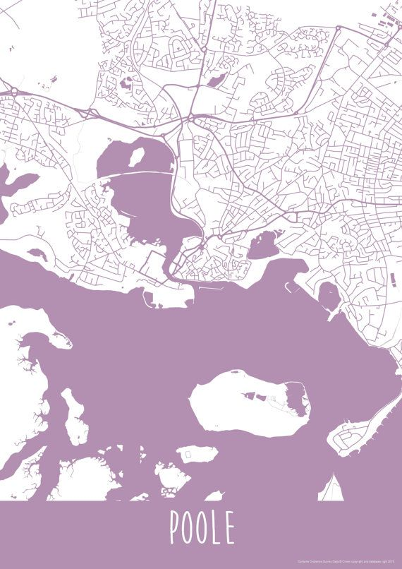 Poole England Map.Poole Town England Art Map Roads Print Your Places By Illastudio