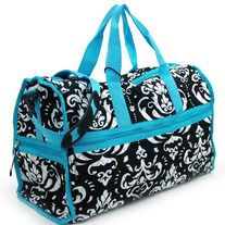 "Style: Luggage - Duffel Bags  Color:  Blue Trim  Material:  Cotton  Approx. Size:  19""W x 11""H x 7""D   Quilted cotton fabric - Monogrammable fabric material - Zipper top entry - Adjustable/detachable crossbody or shoulder strap - Gingham style interior lining - Front zipper pocket and si..."