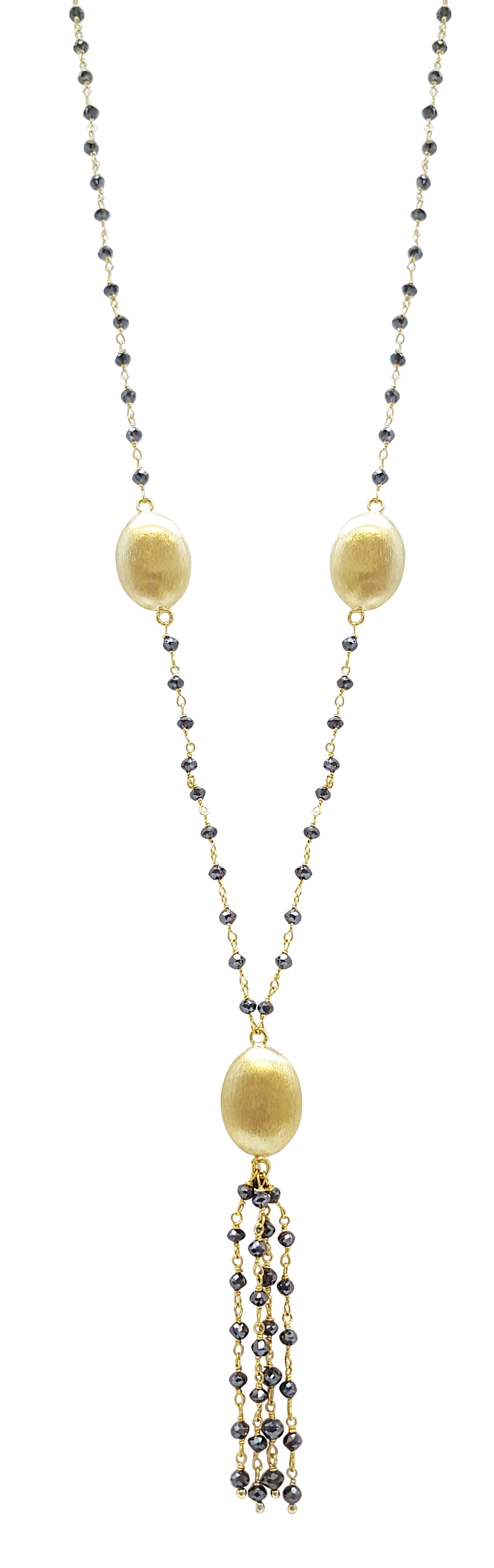 Black Diamond 14K Yellow Gold Rosary Bead with Gold Tussel by TIAARA