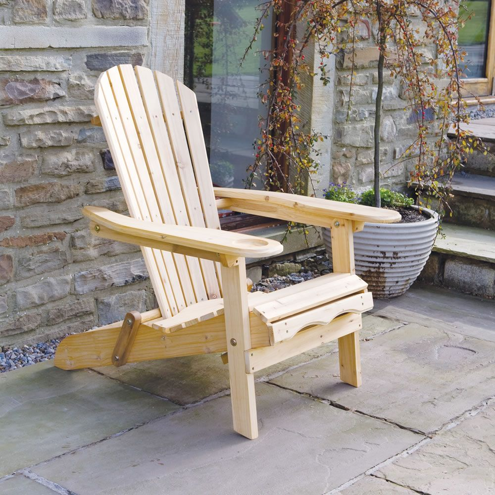 Good Newby Garden / Patio Wooden Adirondack Arm Chair / Lounger With Pull Out  Leg Rest