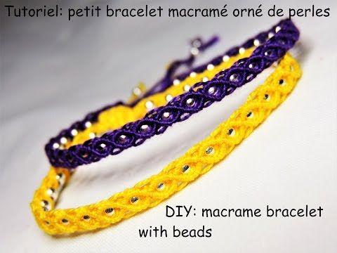 Tutoriel: petit bracelet macramé orné de perles (DIY: macrame bracelet w...