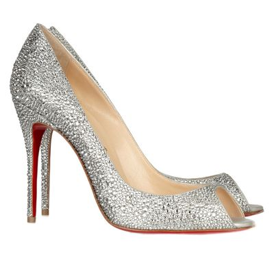 Silver Peep Wedding Shoes On Christian Louboutin Sexy Strass 120 Toe Pumps