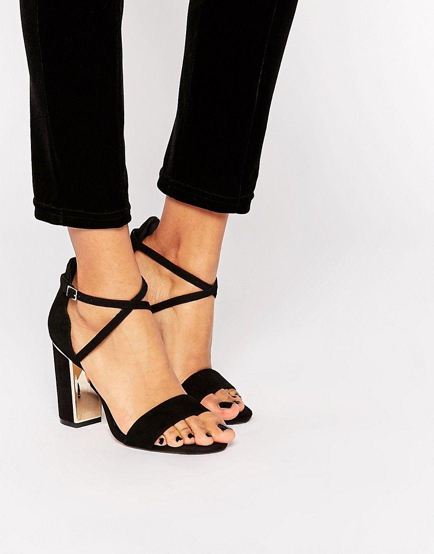 image 1 - dune - maybell - sandales en daim à talon carré avec