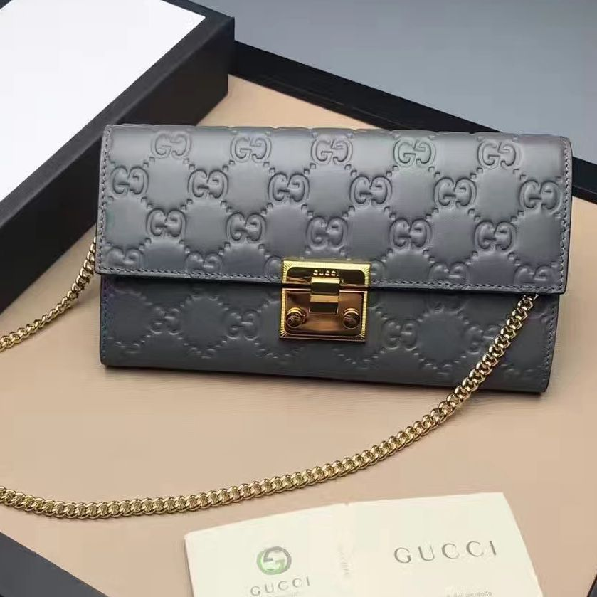 4e6f62e19b8 Gucci Padlock Signature Leather Continental Chain Wallet Bag 453506 Gray  2017