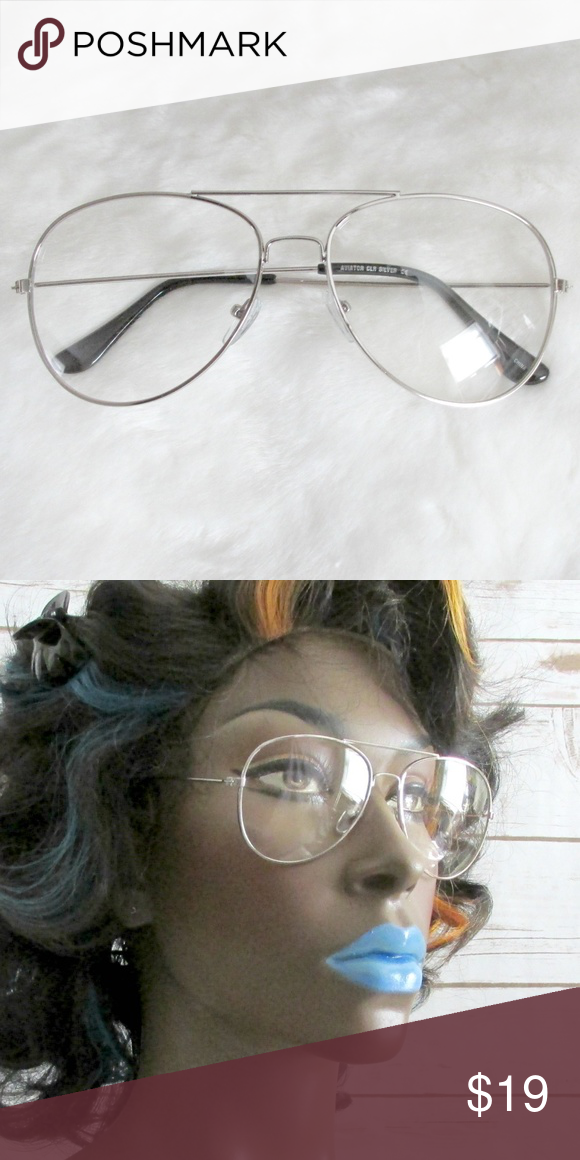 1dc59d8da8c Silver Clear Lens Aviator Fashion Glasses Stylish aviator glasses with a  silver metal frame and clear