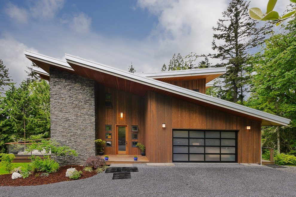 Modern Butterfly Roof Exterior Contemporary With Slanted