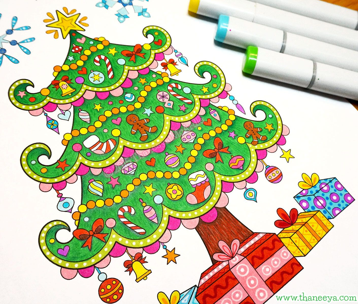 Intro To Art Markers A Beginner S Guide To Markers For Coloring And Drawing Thaneeya Com Christmas Tree Coloring Page Marker Art Christmas Coloring Pages
