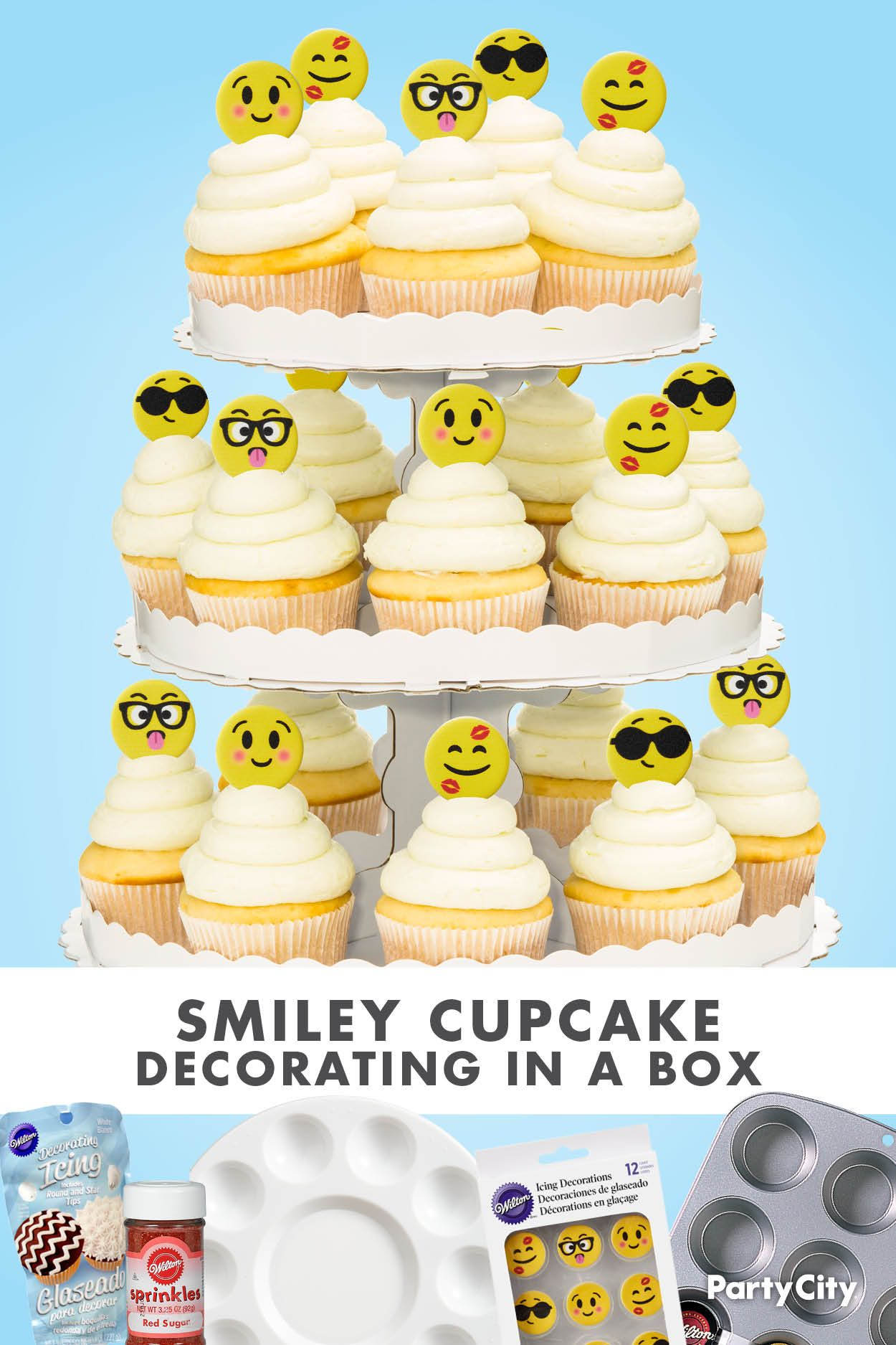 Smiley Cupcake Cupcake Decorating In A Box In 2020 Cupcakes