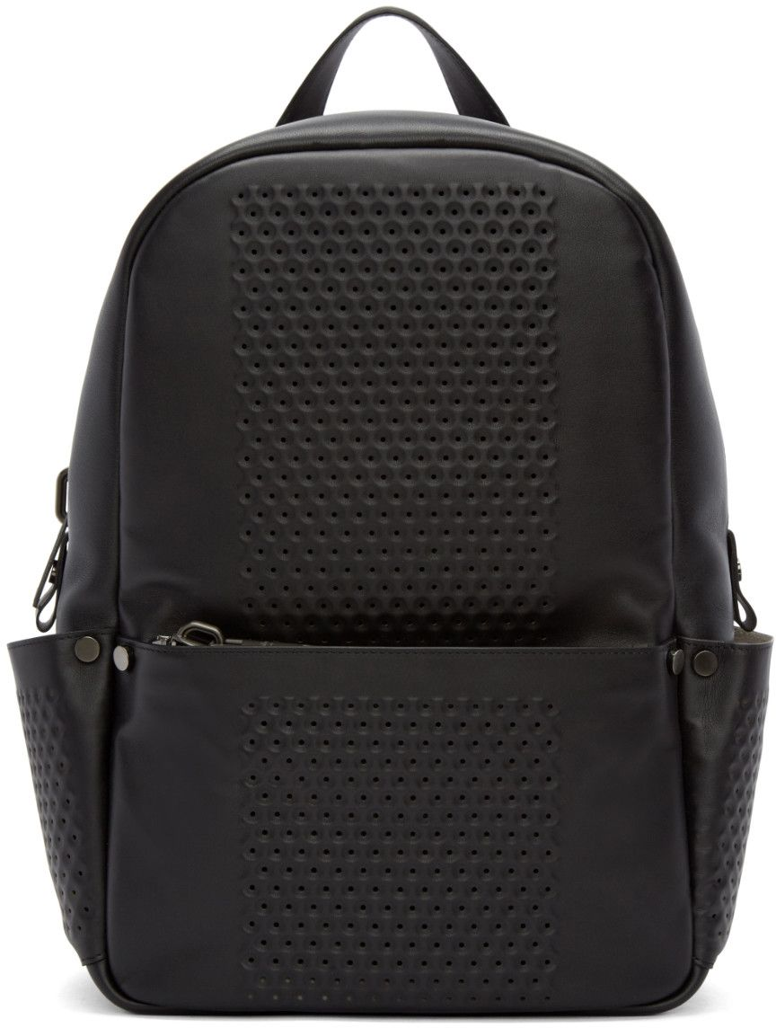 b595fb1e087c5 Calvin Klein Collection - Black Leather Perforated Medium Backpack ...