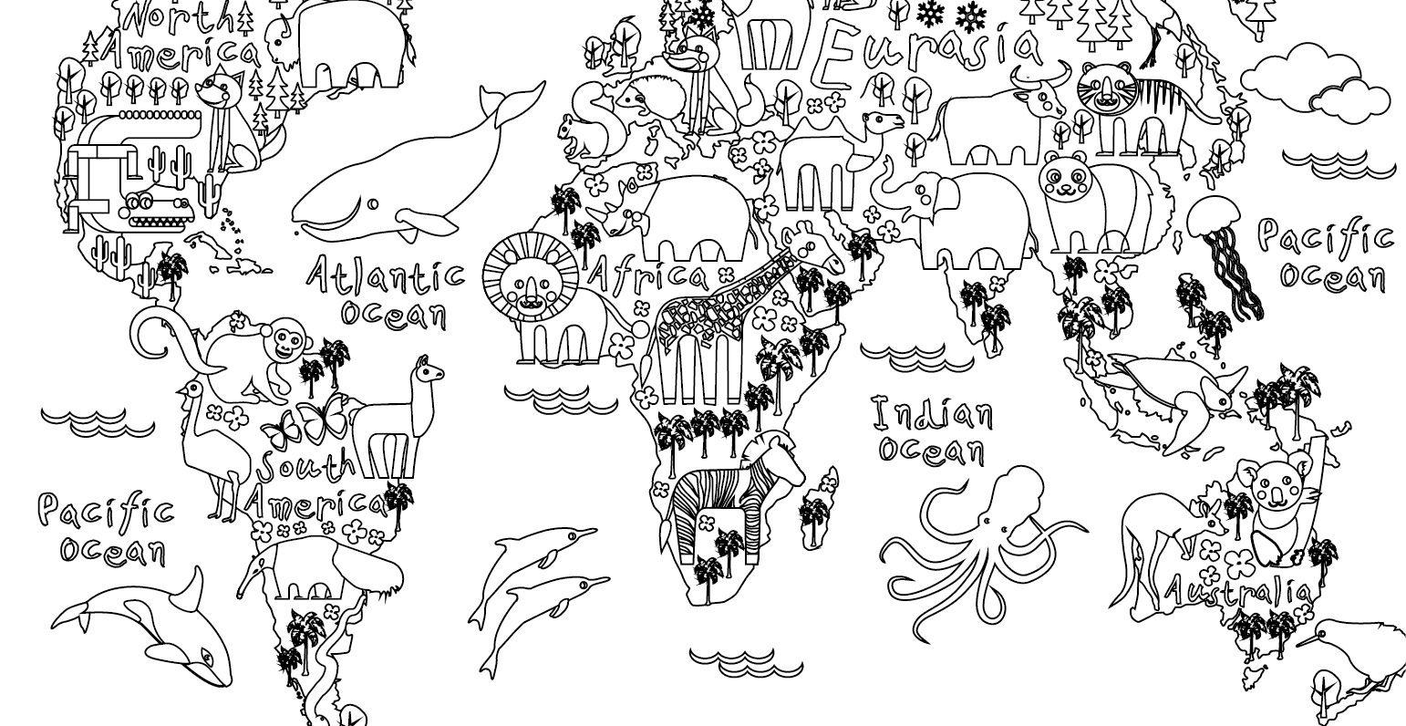 coloriage gratuit carte monde animaux. Black Bedroom Furniture Sets. Home Design Ideas