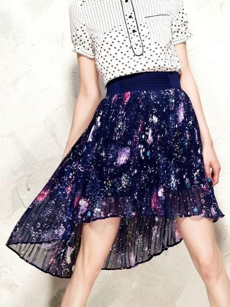 Galaxy Print Asymmetric Pleated Skirt | Choies, $24.99