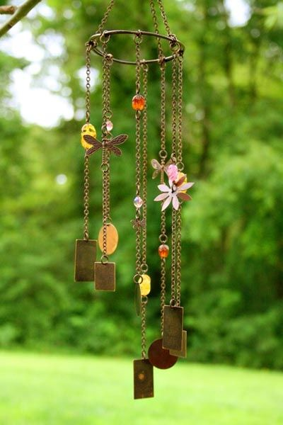 Wind Chime  Small Dove with Glass beads and a Heart