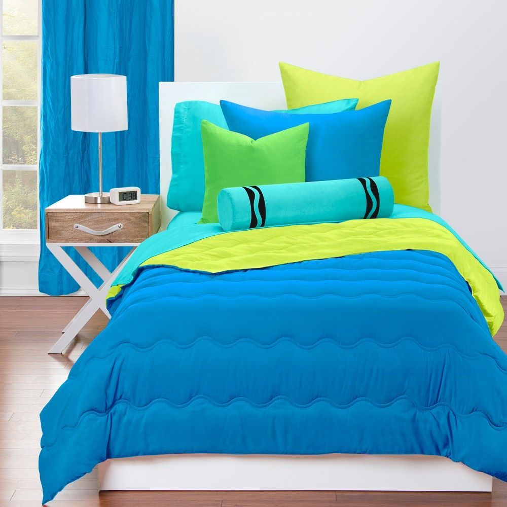 Twin Reversible Comforter With Sham Set Cerulean Blue Granny Smith