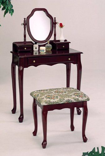 item Cherry finish wood bedroom vanity set Coaster Home Furnishings - Bedroom Vanity Table