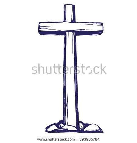 Christian Wooden Cross Easter Symbol Of Christianity Hand Drawn Vector Illustration Sketch Cross Drawing Christian Illustration Wooden Cross