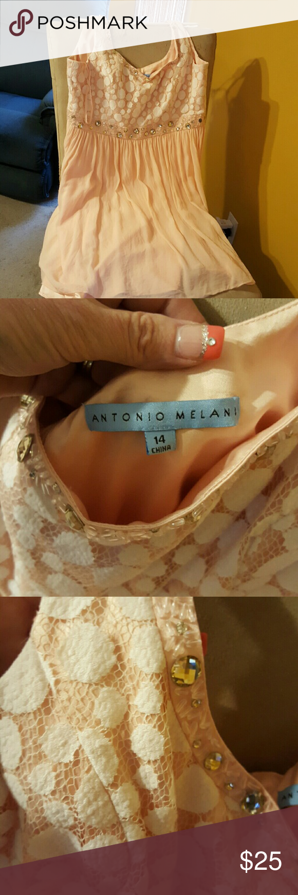 Antonio Melani Peach with rhinestones  It was worn in wedding this weekend. It is also lined Dresses Prom