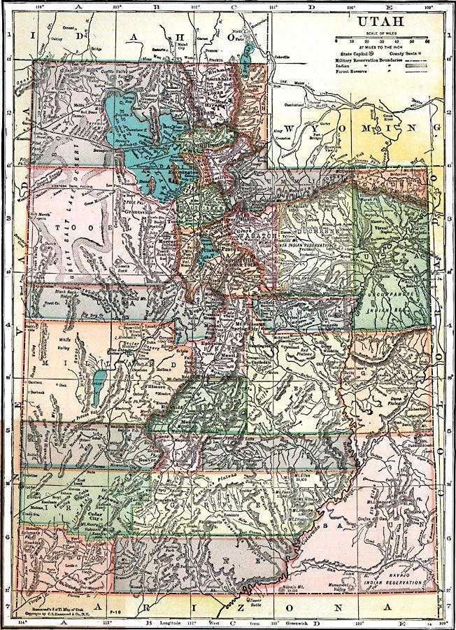 Map Of Utah 1920 Utah Maps Pinterest Utah Map Map And Utah