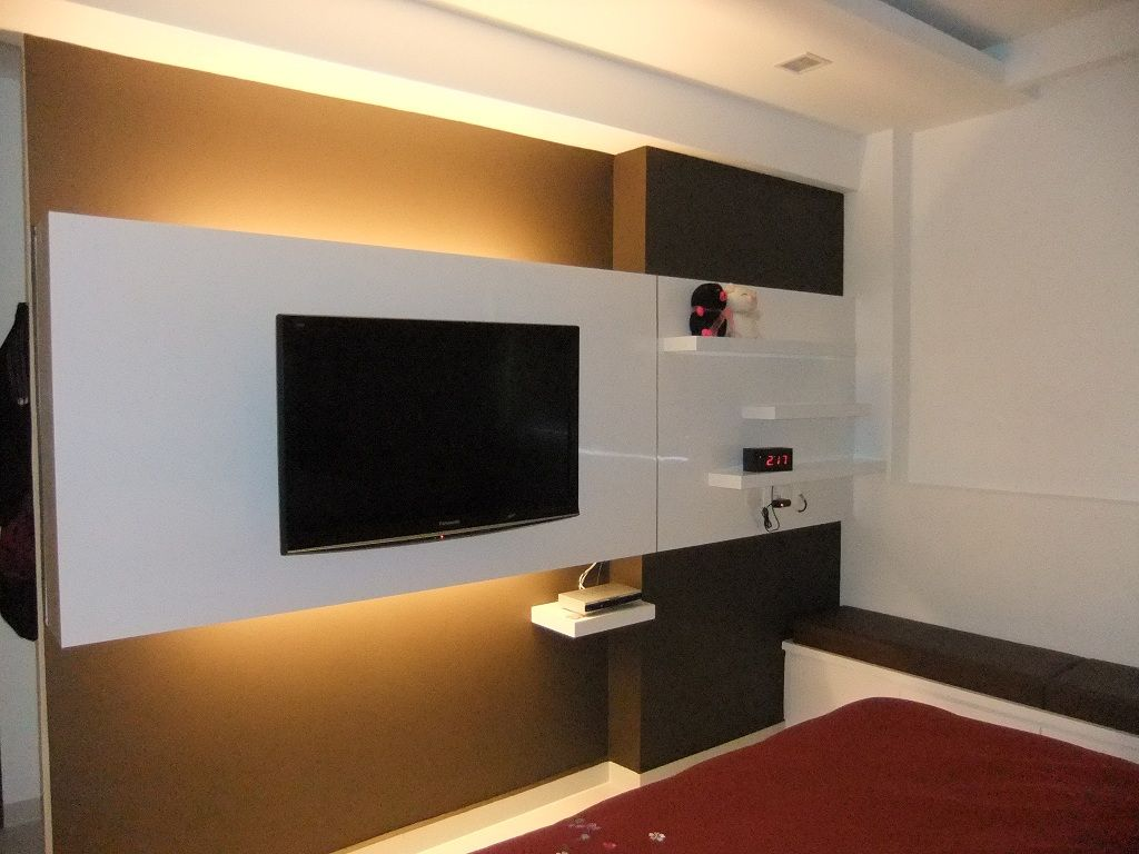 Master Bedroom Tv Wall tv console ideas. storage beneath tv tv hung on wall. rustic wood