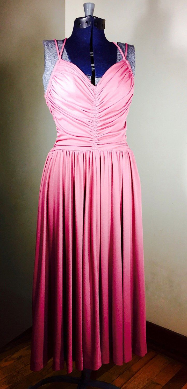 1970s Mauve Goddess Disco Tank Dress w/Roched Pleating, Zip Back ...