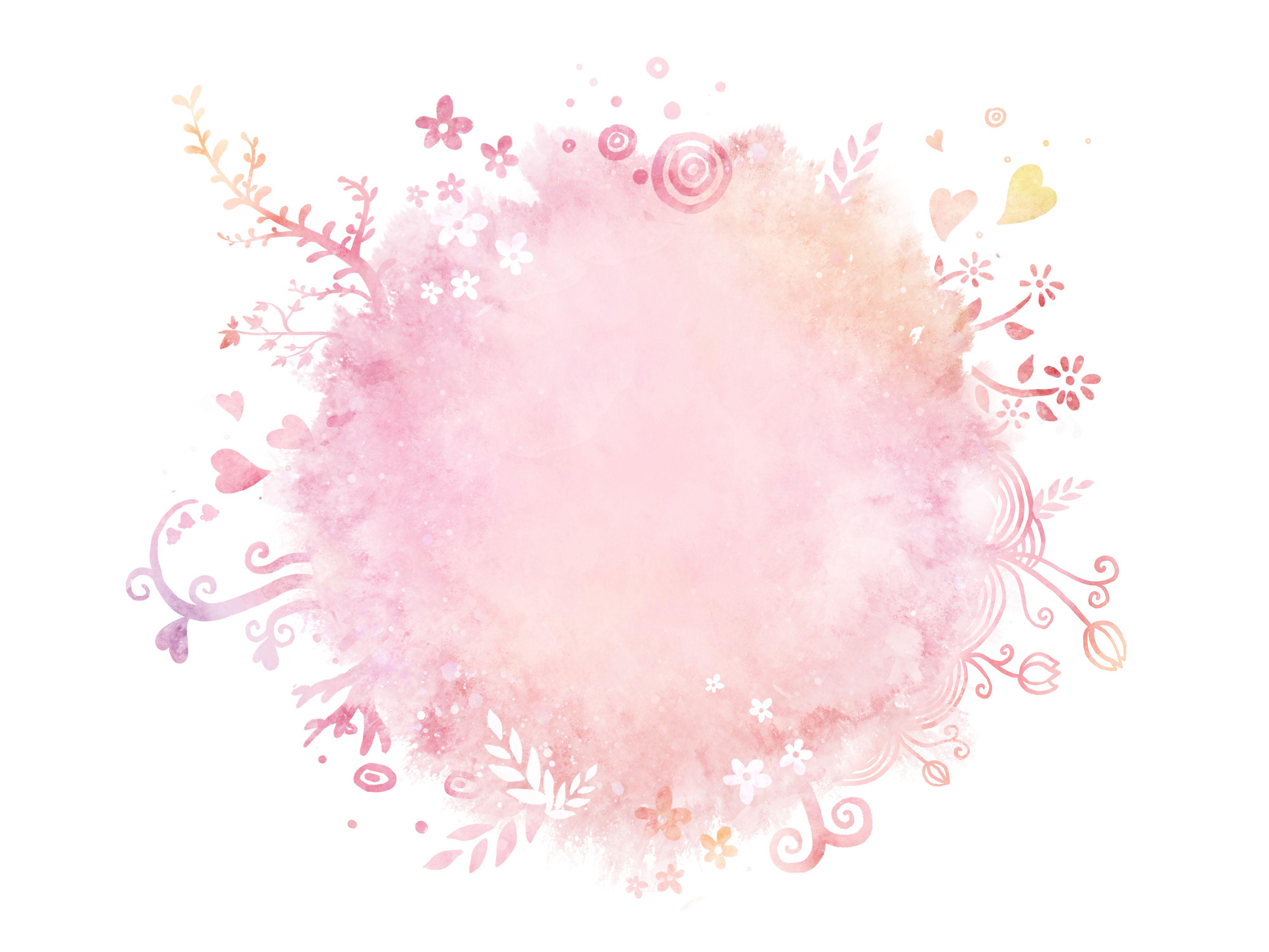Hand Painted Watercolor Print Pink Circle Background Flower Logo Design Flower Logo Flower Frame