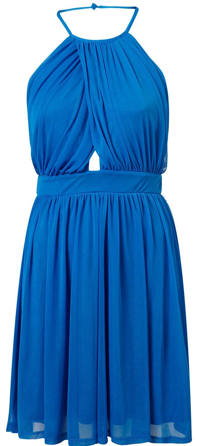aa1ef4c6ed65 BRIGHT BLUE Wrap Neck Chiffon Halter Dress from Topshop | DRESSES I ...