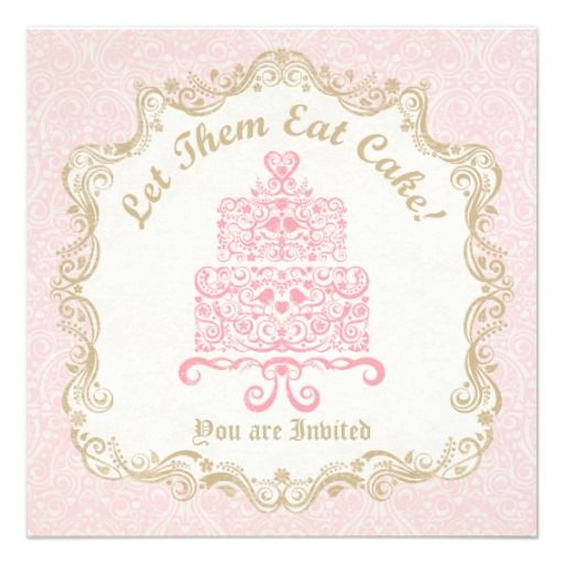 Let Them Eat Cake Invitation in Pink & Gold Marie Antoinette Inspired Party Invitation. Love birds, hearts, flowers, and vines decorate this cake.