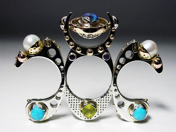 Metamorphosis, 3 fingers ring  *Winner of the Award Juried Formula Exhibit,  14k Gold, 925 Silver, Moonstone, Pearls, Turquoise, Phrenite, Amethyst.  Claudio Pino