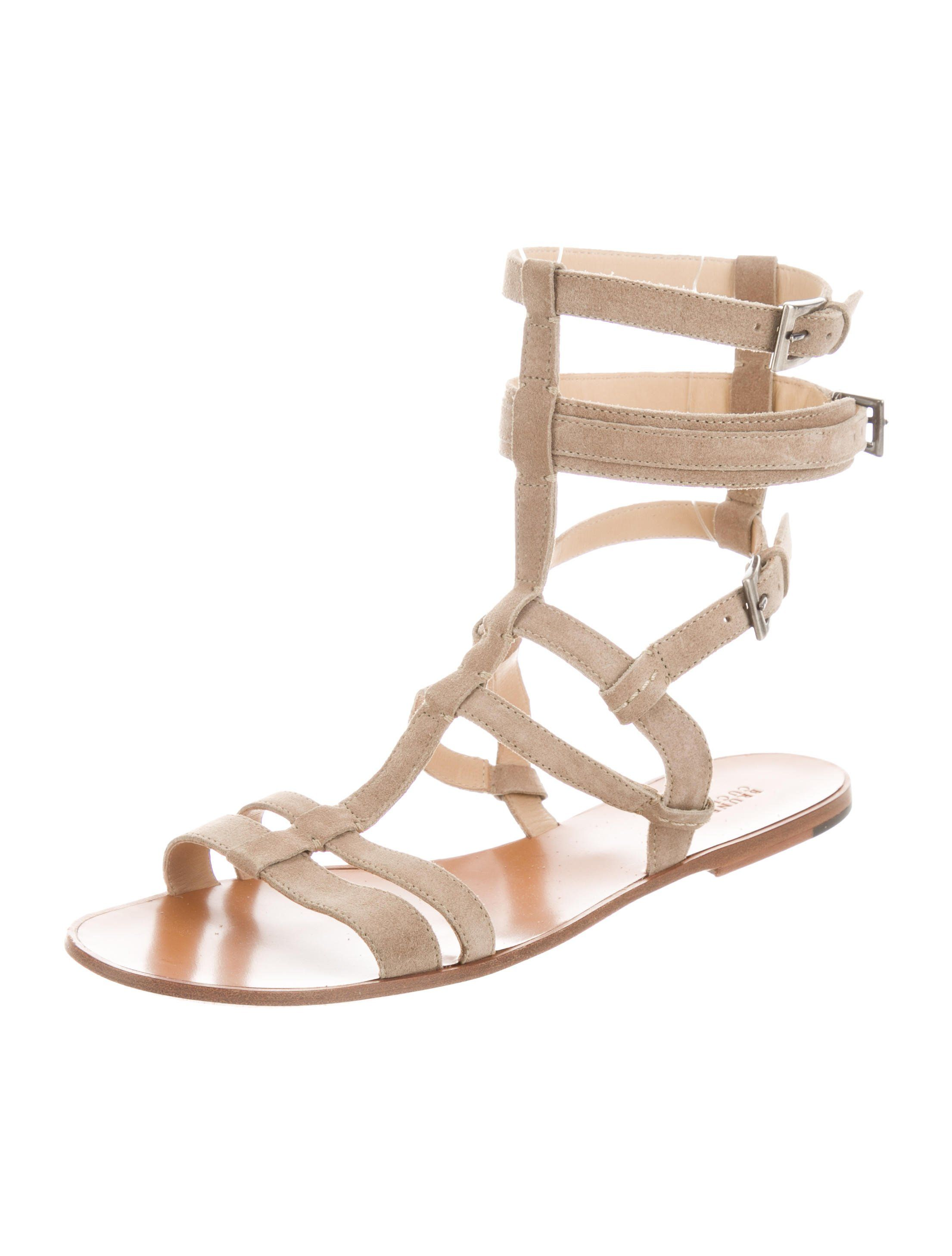 8fa44b9637f5 Beige suede Brunello Cucinelli multistrap sandals with tonal stitching  throughout