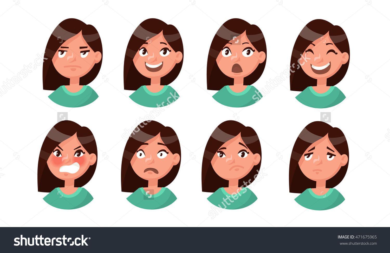 Set of woman 39 s emotions facial expression girl avatar vector illustration of a flat design - Image de personnage de manga ...