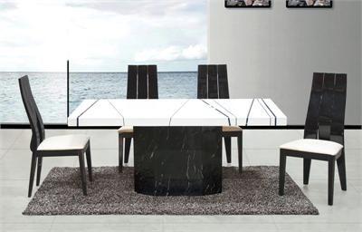 Baveno Black White Rectangular Marble Table Set Dining Table