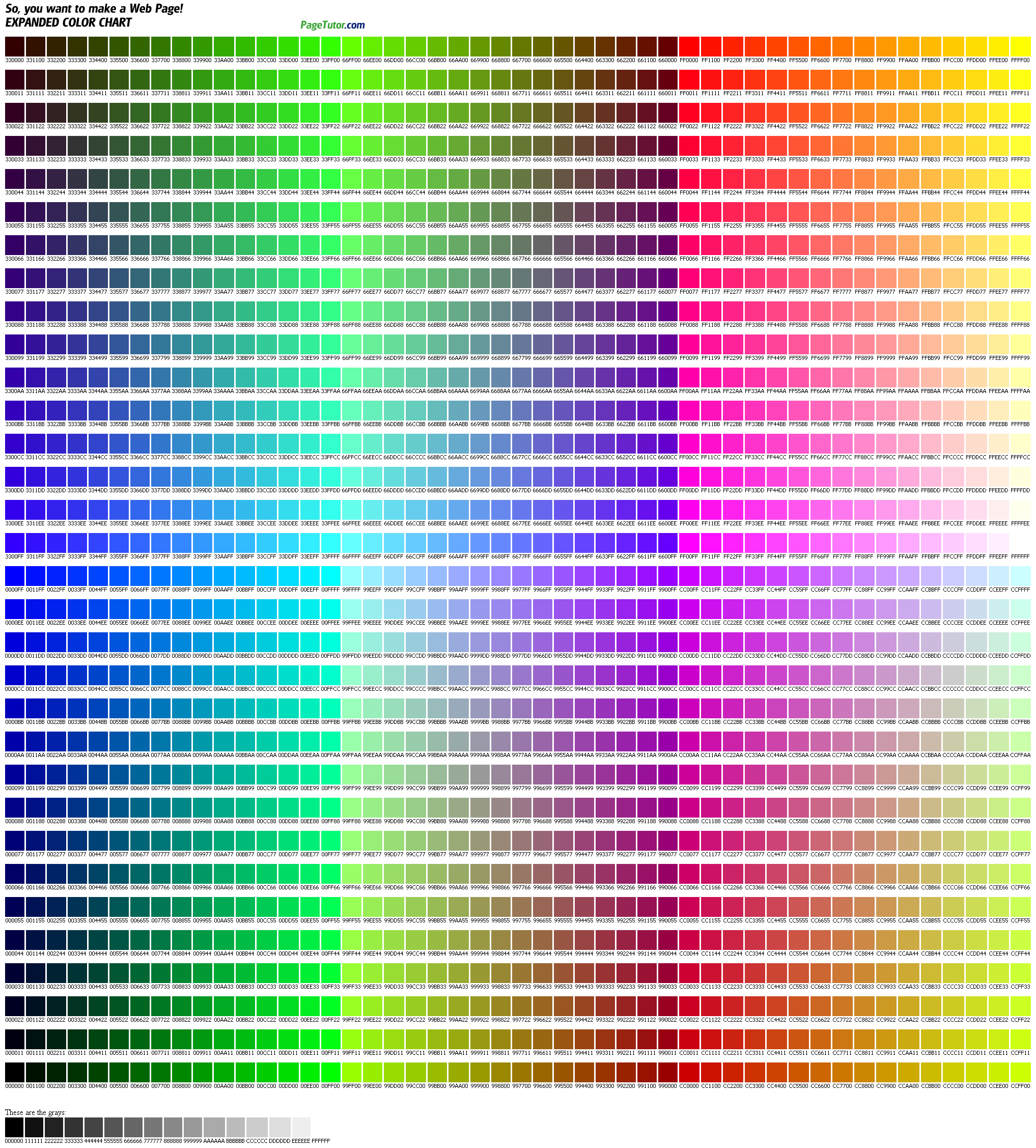 Color Chart  Useful For Web Design I Will Always Love Ff