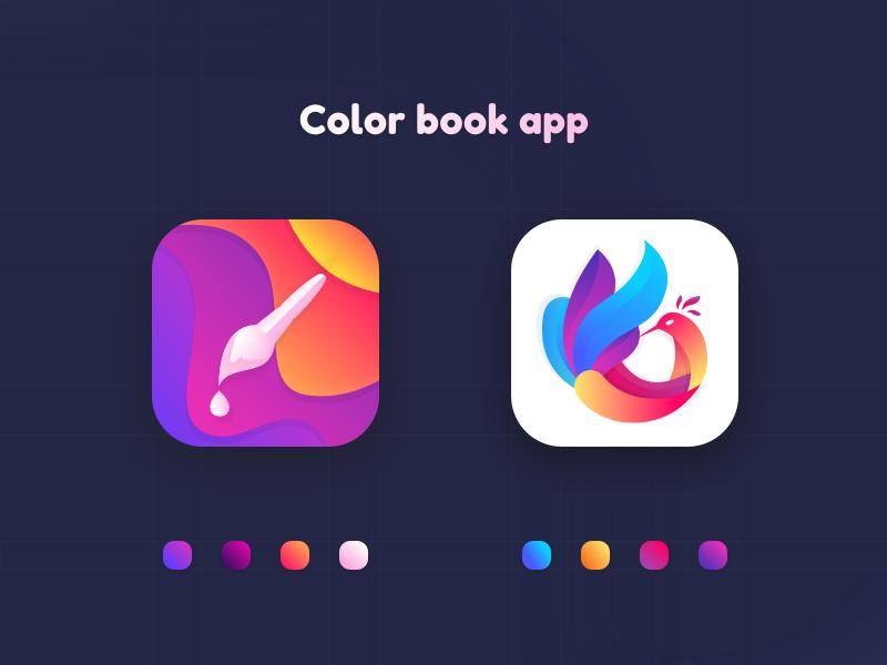Color Book App Coloring Book App App Icon Design Icon Design