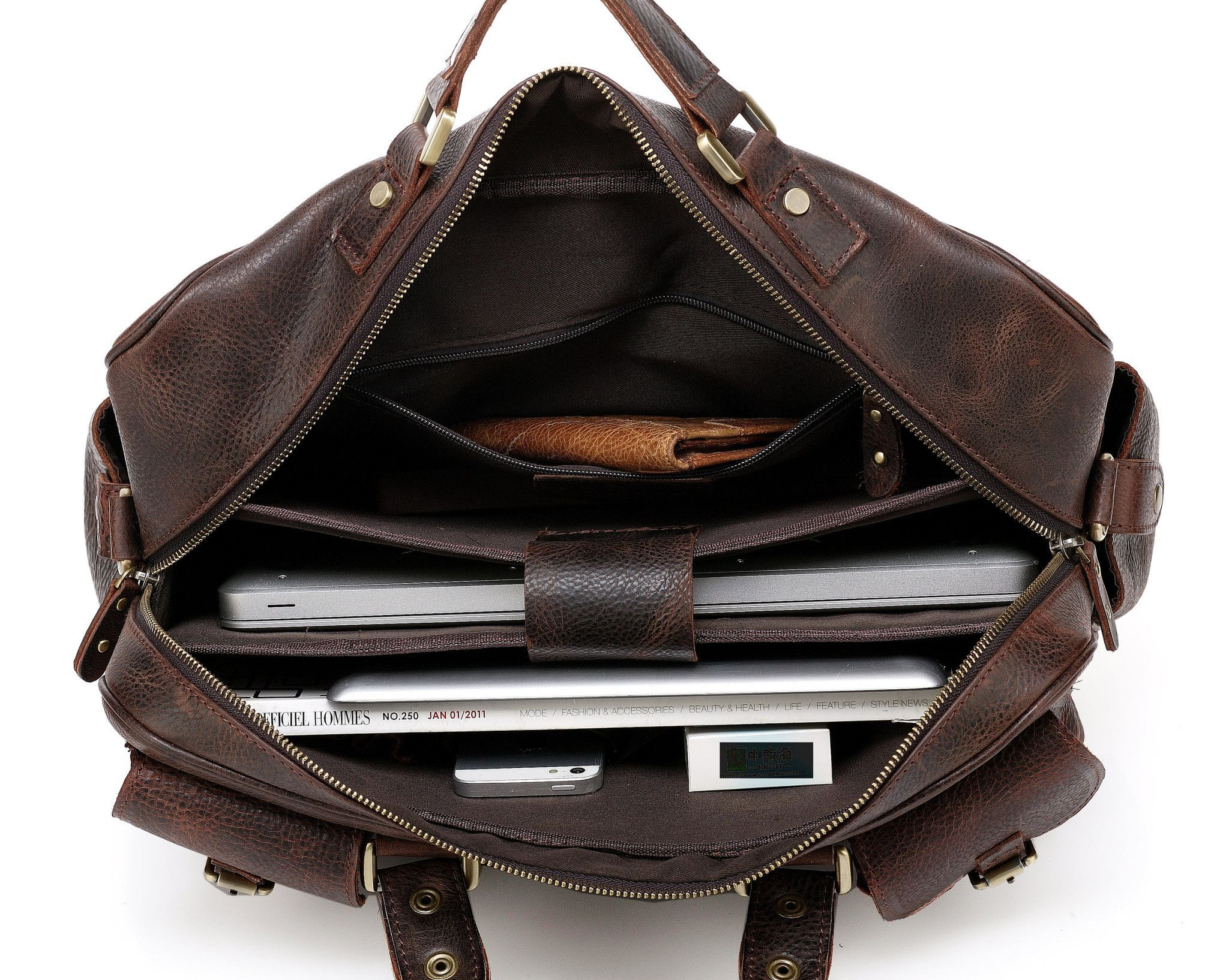 Made of full grain leather and manufactured with expert workmanship.Serves multiple purposes: laptop bag, messenger bag, shoulder bag and briefcase.Rugged and durable. Finished with durable hardware.Easily accessible exterior pockets...