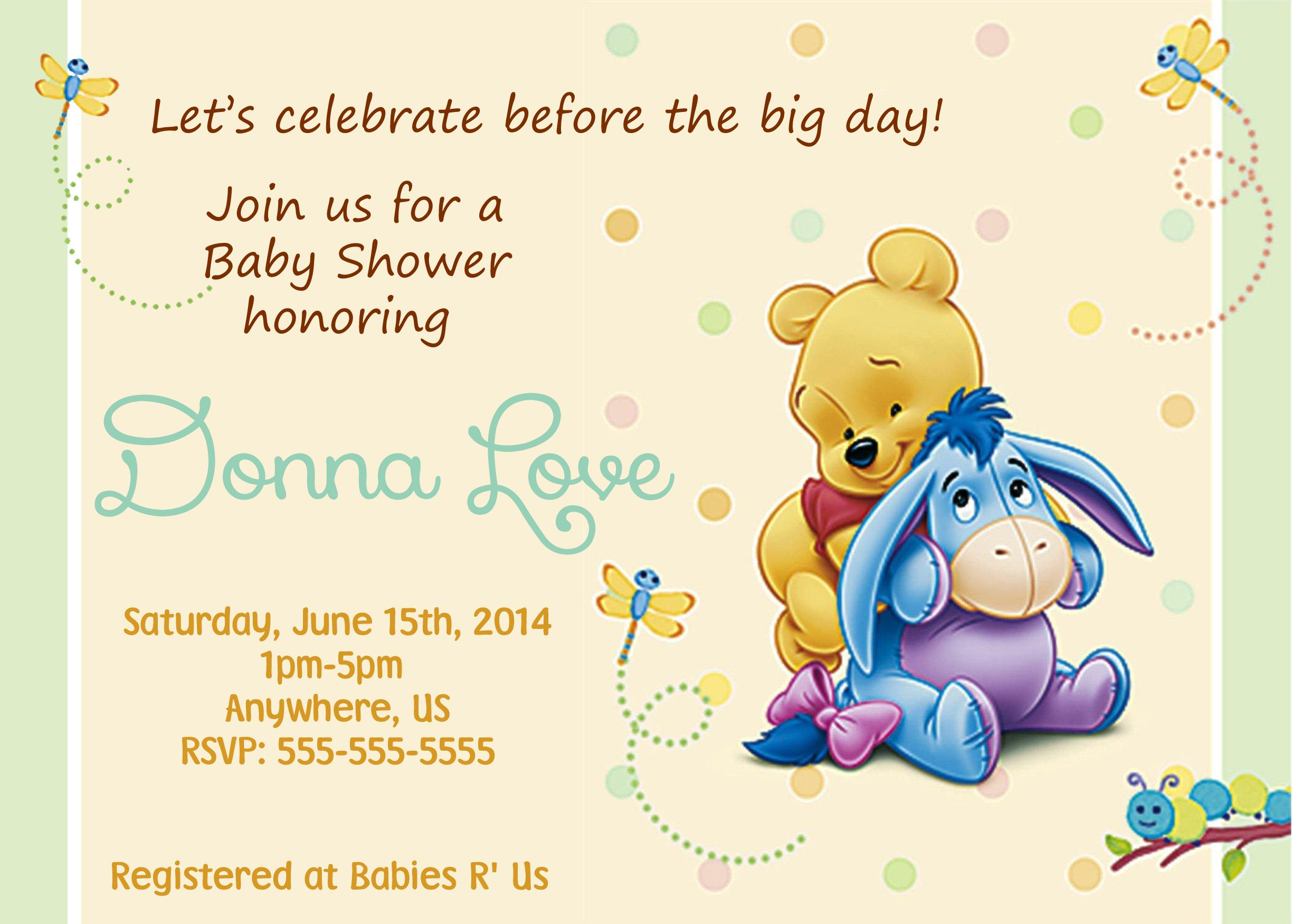 Winnie the Pooh Baby Shower Invitations $8.99 | Baby Shower ...