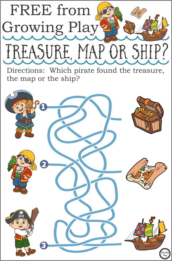 Treasure Map Or Ship Pirate Maze Growing Play Pirate Activities Pirates Pirate Preschool [ 1106 x 728 Pixel ]