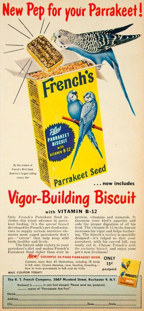 1954 Ad RT French's Parakeet Seed Bird Pet Food 2667