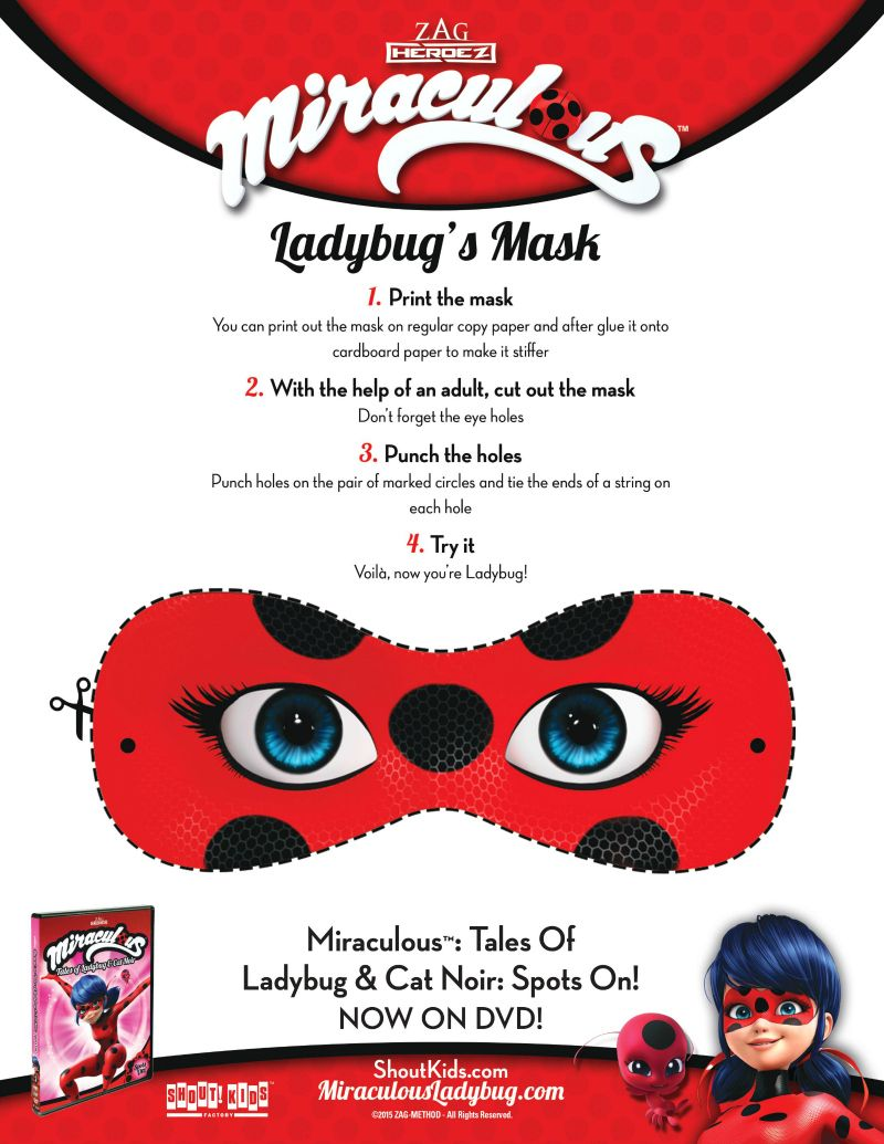 Miraculous Ladybug Mask Craft | Printable Coloring Pages, Crafts ...