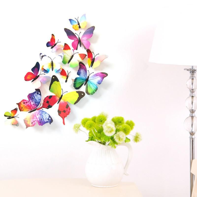PCS DIY D PVC Magnet Butterflies Wall Home Decor Sticker - Butterfly wall decals 3dpvc d diy butterfly wall stickers home decor poster for kitchen