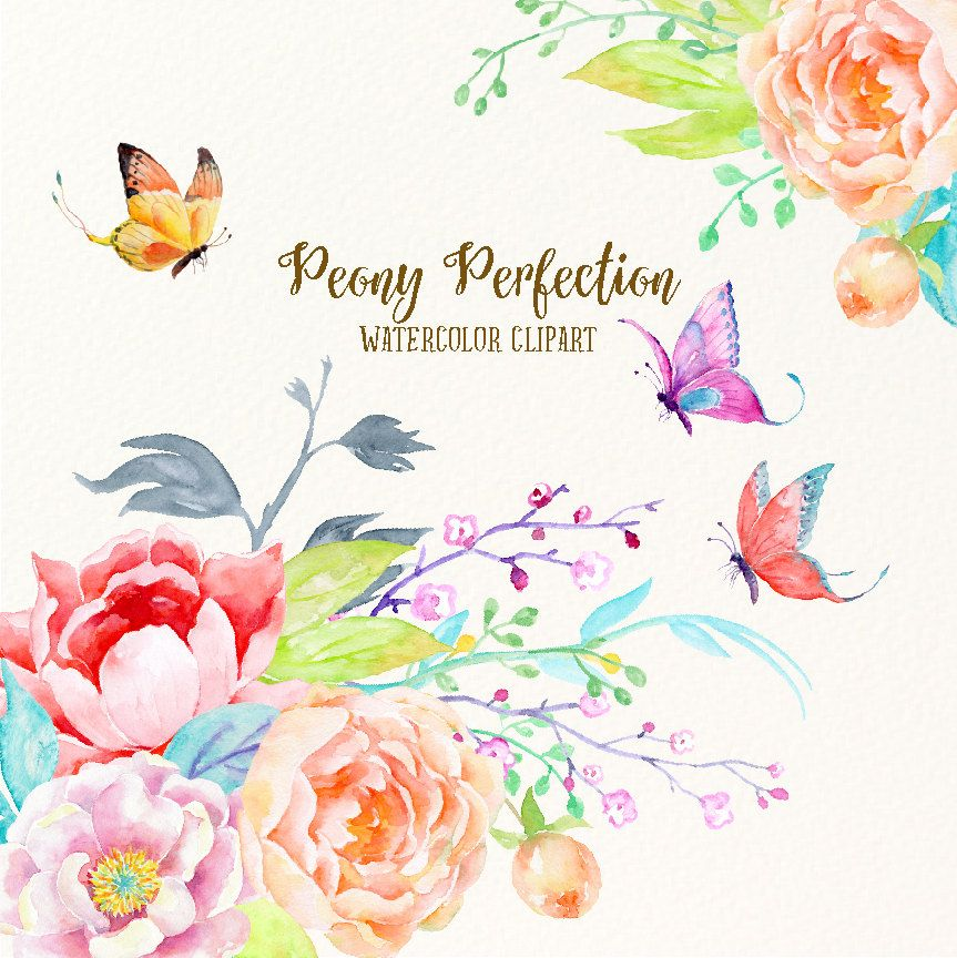 Wedding Tree Watercolor Clipart: Wedding Clipart Peony Perfection