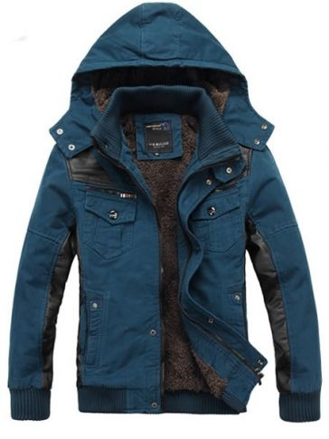Dark Blue Cotton Blend Men Removable Hat Korean Thick Warm Coat M/L/XL/XXL @501J1236db