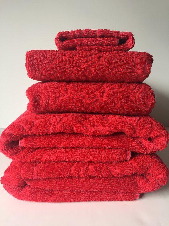 Vintage Cannon Bath Towels Monticello Red Towels 100 Cotton