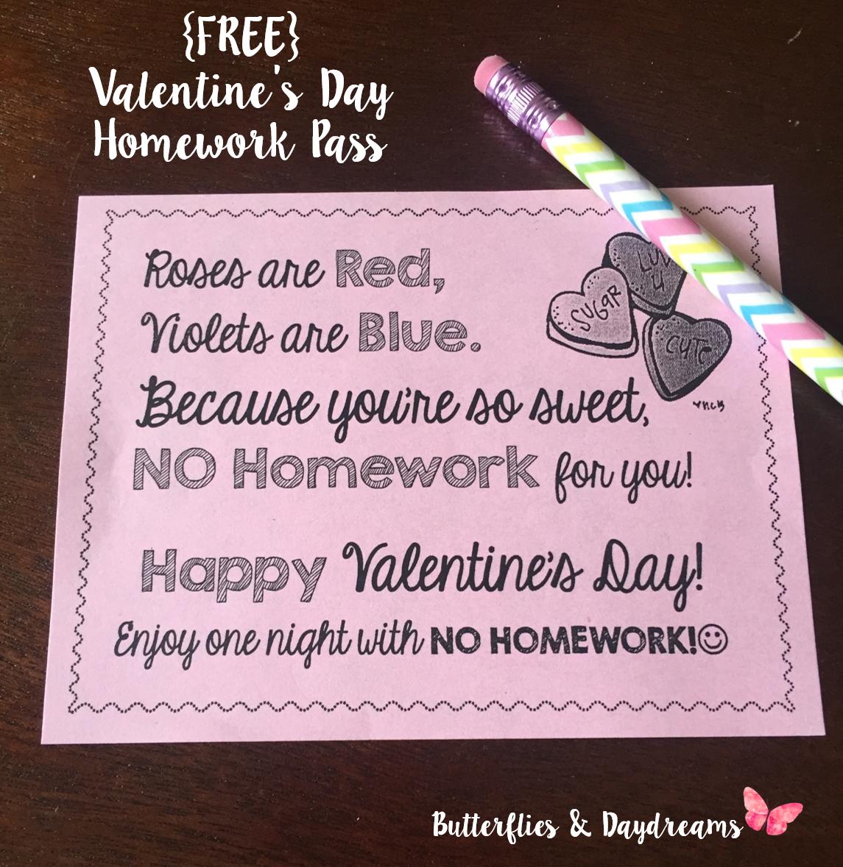 Homework pass valentines day