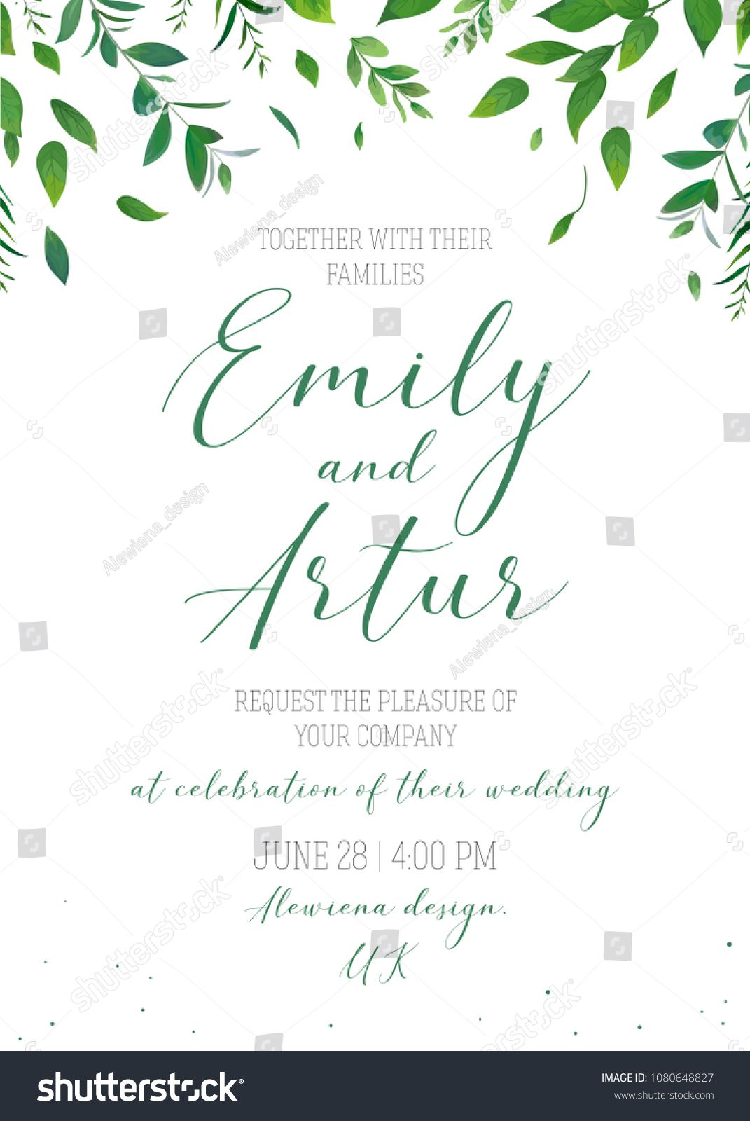 Wedding Floral Greenery Invitation Invite Save The Date