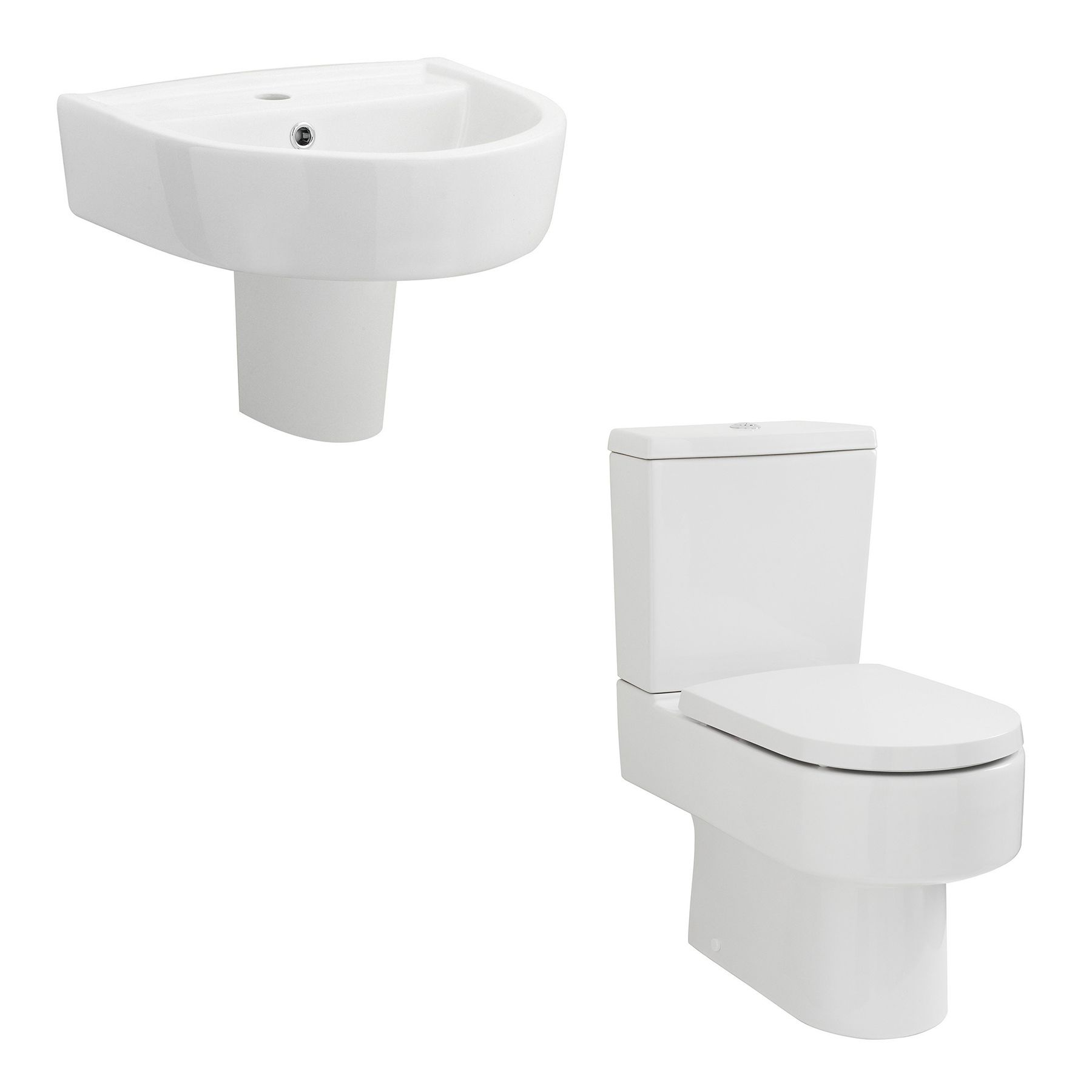 Provost Close Coupled Toilet 420mm Semi Pedestal Basin Suite In