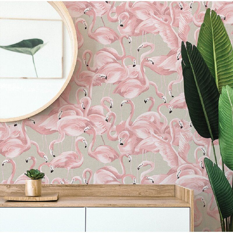 Mcleod Flamingo Cheeky 16 5 L X 20 5 W Peel And Stick Wallpaper Roll In 2021 Pink Removable Wallpaper Flamingo Wallpaper Flamingo Wallpaper Bedroom
