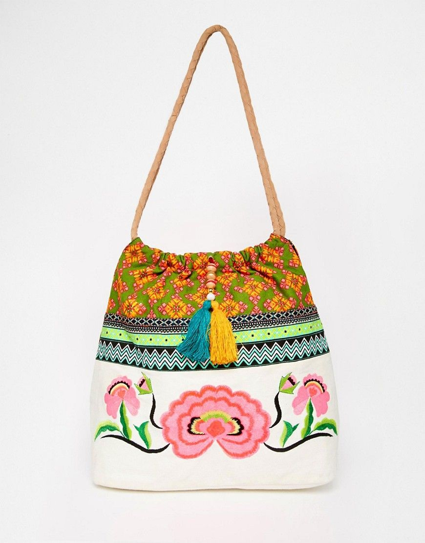 Image 1 ofGlamorous Beach Bag With Floral Embroidery